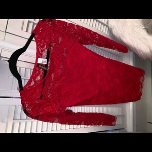 Red, long sleeved lace dress